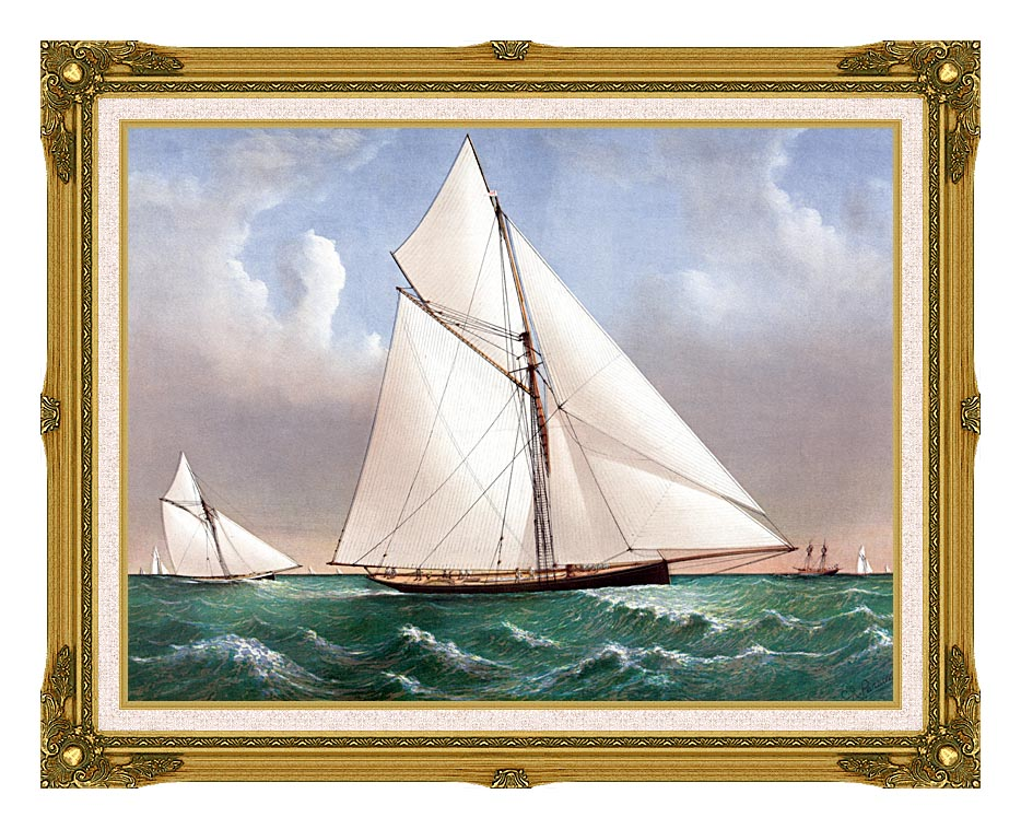Currier and Ives Cutter Genesta, RY with Museum Ornate Frame w/Liner