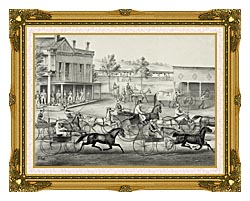 Currier And Ives Going To The Trot   A Good Day And Good Track canvas with museum ornate gold frame