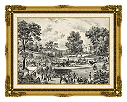 Currier And Ives Grand Drive Central Park NY canvas with museum ornate gold frame