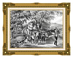 Currier And Ives Haying Time The First Load canvas with museum ornate gold frame
