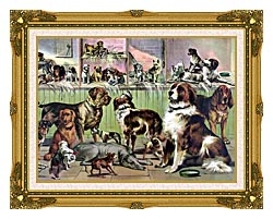 Currier And Ives House Kennel And Field canvas with museum ornate gold frame