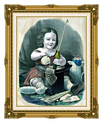 Currier And Ives Little Girl Into Mischief canvas with museum ornate gold frame