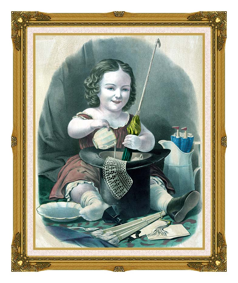 Currier and Ives Little Girl Into Mischief with Museum Ornate Frame w/Liner