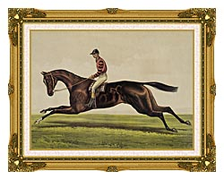 Currier And Ives Iroquois Thoroughbred Horse canvas with museum ornate gold frame