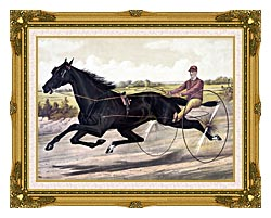Currier And Ives Jay Eye See Trotter Horse Racing canvas with museum ornate gold frame