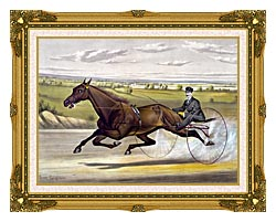 Currier And Ives Maud S Trotter Race Horse canvas with museum ornate gold frame