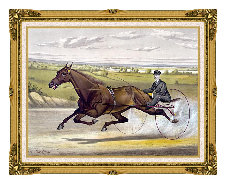 Currier and Ives Maud S Trotter Race Horse with Museum Ornate Frame w/Liner