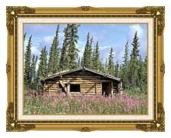 U S Fish And Wildlife Service Canyon Village Log Cabin canvas with museum ornate gold frame