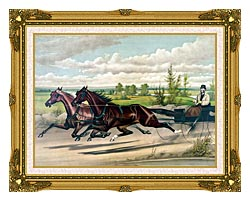 Currier And Ives Mill Boy And Blondine Harness Racers canvas with museum ornate gold frame