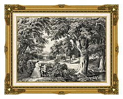 Currier And Ives My Cottage Home canvas with museum ornate gold frame