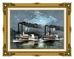 Currier And Ives A Midnight Race On The Mississippi River canvas with museum ornate gold frame