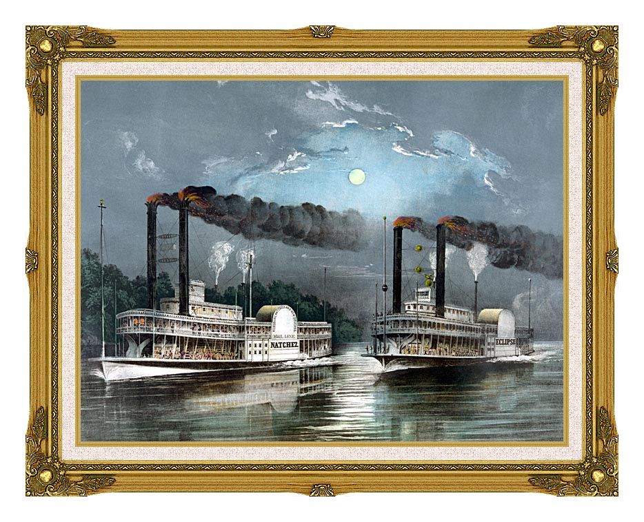 Currier and Ives A Midnight Race on the Mississippi River with Museum Ornate Frame w/Liner