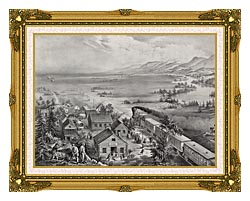 Currier And Ives Railroad Across The Continent canvas with museum ornate gold frame