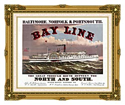 Currier And Ives Bay Line Steamship canvas with museum ornate gold frame