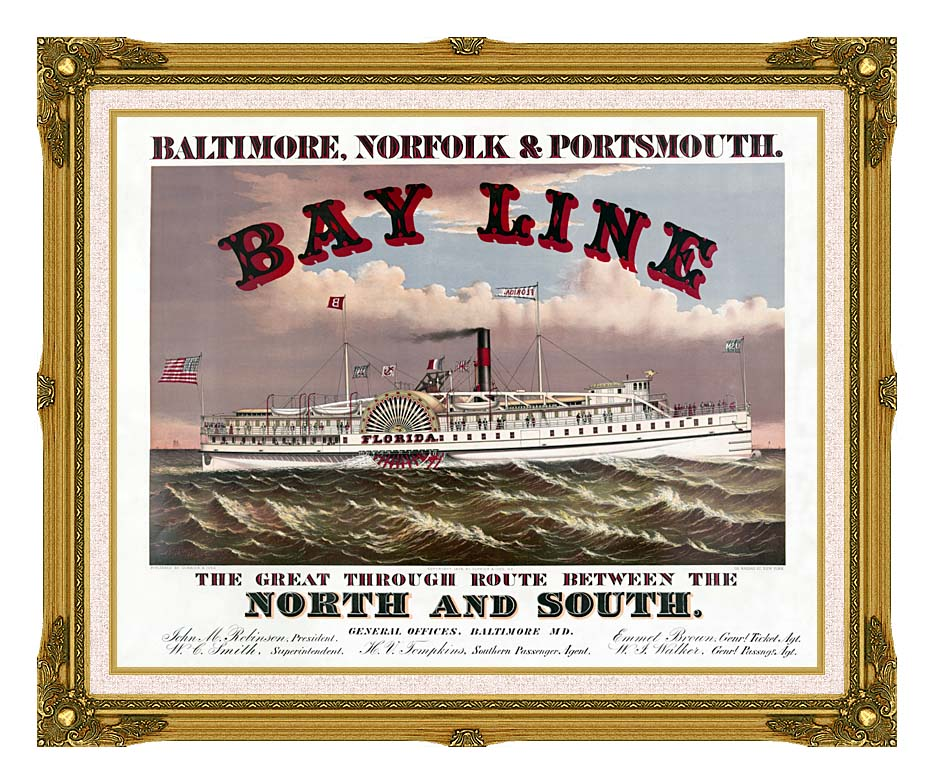 Currier and Ives Bay Line Steamship with Museum Ornate Frame w/Liner