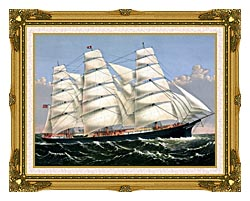 Currier And Ives Clipper Ship Three Brothers canvas with museum ornate gold frame