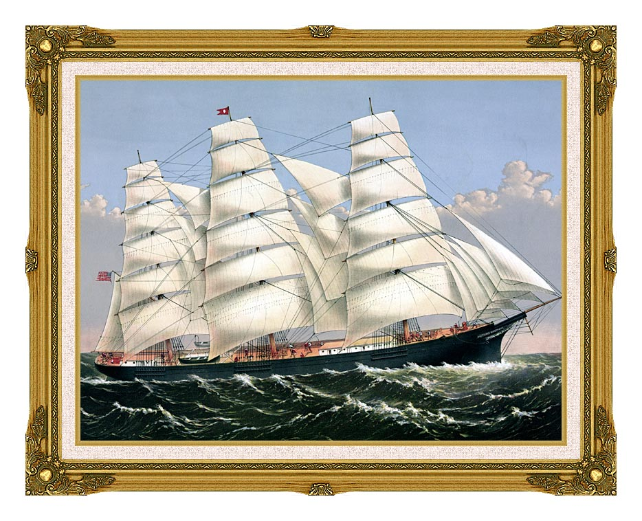 Currier and Ives Clipper Ship Three Brothers with Museum Ornate Frame w/Liner