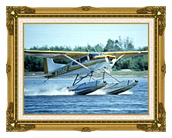 U S Fish And Wildlife Service Float Plane In Water canvas with museum ornate gold frame