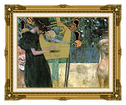 Gustav Klimt Music I canvas with museum ornate gold frame