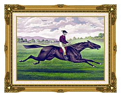 Currier And Ives Parole Horse Racing canvas with museum ornate gold frame