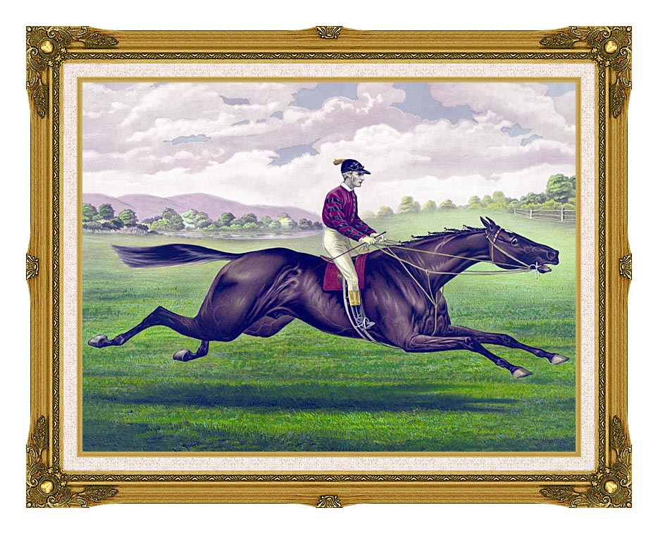 Currier and Ives Parole Horse Racing with Museum Ornate Frame w/Liner