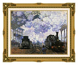 Claude Monet Gare Saint Lazare Arrival Of A Train canvas with museum ornate gold frame