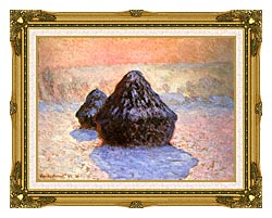 Claude Monet Haystacks Snow Effect Winter canvas with museum ornate gold frame