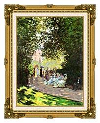Claude Monet Parisians Enjoying The Parc Monceau Paris canvas with museum ornate gold frame