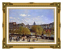 Claude Monet Quai Du Louvre Paris canvas with museum ornate gold frame