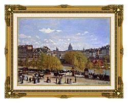Claude Monet Quai Du Louvre Paris canvas with museum ornate gold frame