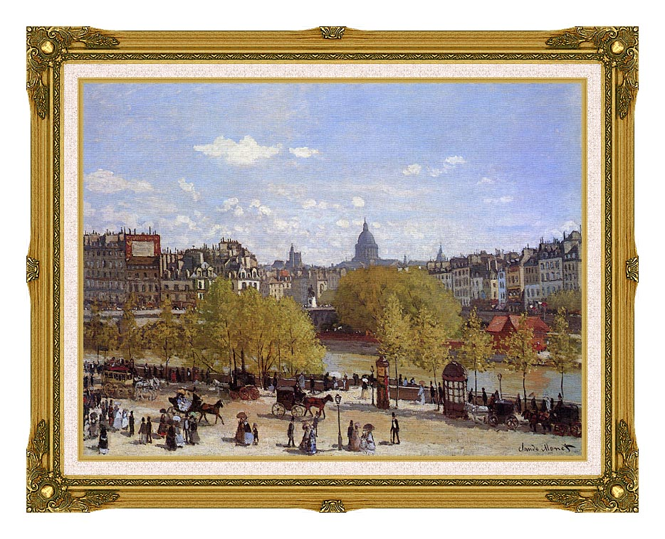 Claude Monet Quai du Louvre, Paris with Museum Ornate Frame w/Liner