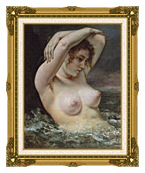 Gustave Courbet Woman In The Waves canvas with museum ornate gold frame