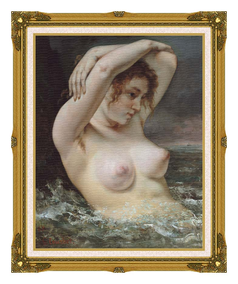 Gustave Courbet Woman In The Waves with Museum Ornate Frame w/Liner