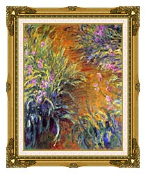 Claude Monet The Path Through The Irises canvas with museum ornate gold frame