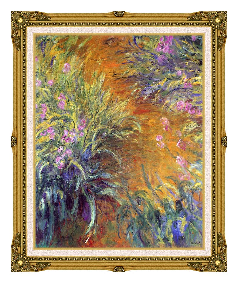 Claude Monet The Path Through the Irises with Museum Ornate Frame w/Liner