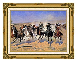 Frederic Remington A Dash For The Timber Detail canvas with museum ornate gold frame