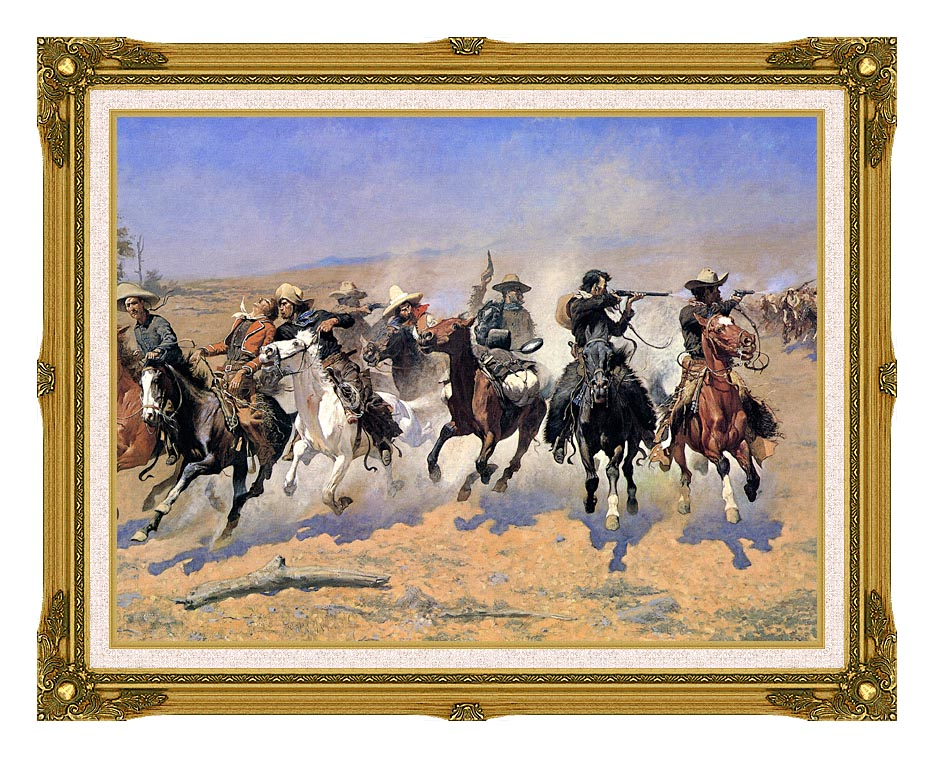 Frederic Remington A Dash For The Timber (detail) with Museum Ornate Frame w/Liner