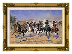 Frederic Remington A Dash For The Timber canvas with museum ornate gold frame