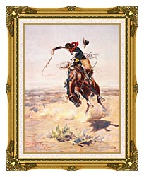 Charles Russell A Bad Hoss canvas with museum ornate gold frame