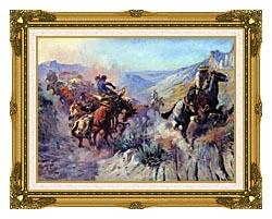 Charles Russell A Mix Up canvas with museum ornate gold frame
