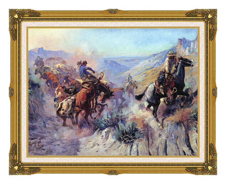 Charles Russell A Mix Up with Museum Ornate Frame w/Liner