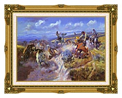 Charles Russell A Tight Dally And Loose Latigo canvas with museum ornate gold frame