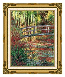 Claude Monet Water Garden And Japanese Footbridge canvas with museum ornate gold frame