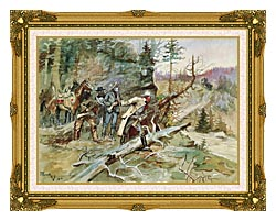 Charles Russell Big Nose George And The Road Agents canvas with museum ornate gold frame