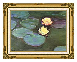 Claude Monet Green Water Lilies canvas with museum ornate gold frame