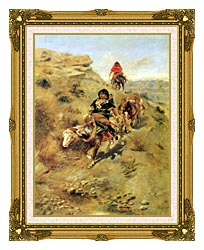 Charles Russell Bringing Home The Meat canvas with museum ornate gold frame