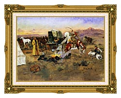Charles Russell Bronc In Cow Camp canvas with museum ornate gold frame