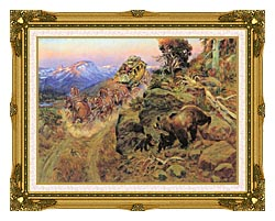 Charles Russell Bruin Not Bunny Turned The Leaders canvas with museum ornate gold frame