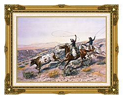 Charles Russell Buccaroos canvas with museum ornate gold frame