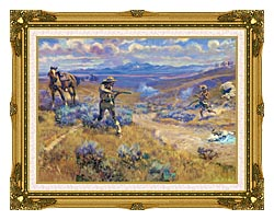 Charles Russell Buffalo Bills Duel With Yellowhand canvas with museum ornate gold frame